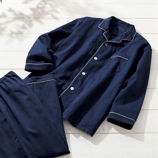 セシール 綿100%サテンシャツパジャマ(男女兼用)