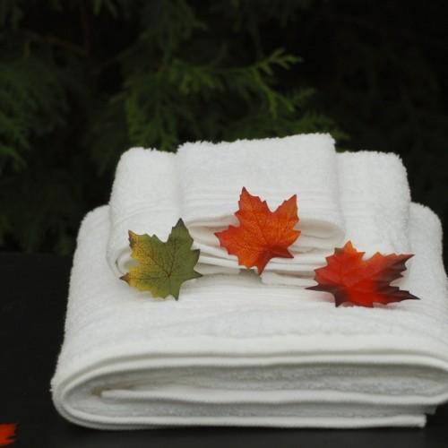 バスタオルに紅葉が乗っかっている画像